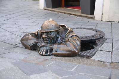 """Cumil, """"The Peeper"""" - Residing at the junction of Laurinská and Panská streets."""