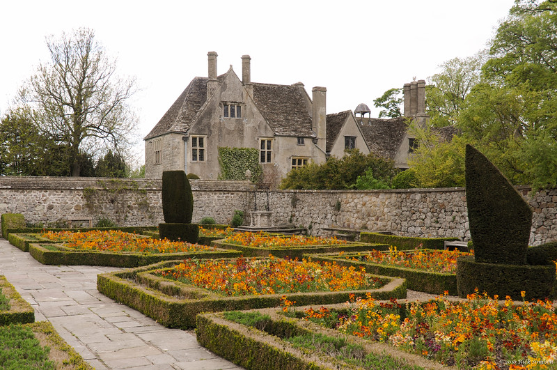 Formal garden on a gray day