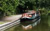 Narrowboat on Kennet & Avon canal, Kintbury, West Berkshire, England