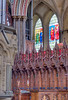 Choir stalls and stained glass