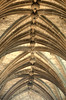 Ceiling vaulting with roof bosses, St Giles' Cathedral, Edinburgh, Scotland.  Note that the line of roof bosses is not quite straight.