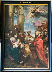Adoration of the Magi by G. Seghers, 1630, inside the Church of Our Lady