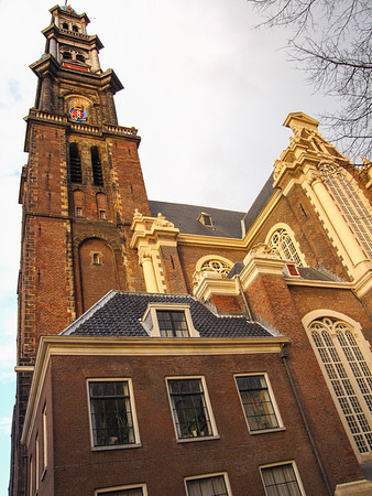 """Westerker (""""Western Church"""") in Amsterdam, just down the street from our hotel and the Anne Frank house."""