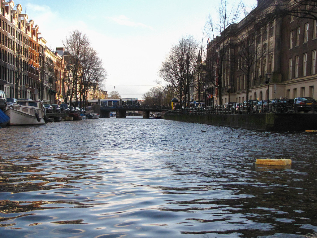 Canal boat tour in Amsterdam.