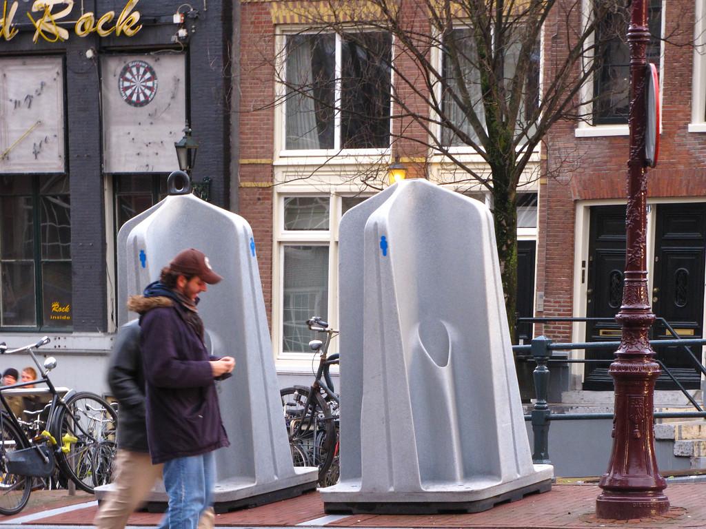 Outdoor public urinals in Amsterdam.