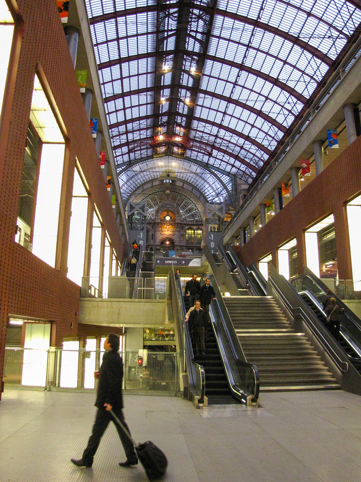 Looking up to the original levels of the Antwerp train station.