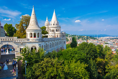 3 of the 7 towers of the Fisherman's Bastion. The 7 towers represent the seven Magyar tribes that settled in the Carpathian Basin.