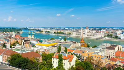 The view from the Fisherman's Bastion of the Danube River.