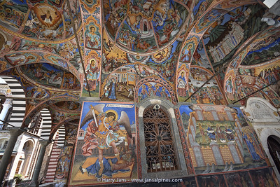 Rila Monaster, outer corridor with frescoes