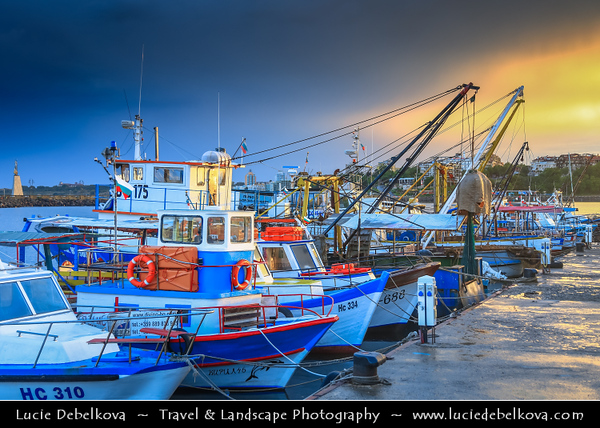 Eastern Europe - Bulgaria - България - Burgas Province - Nesebar - Nessebar - Nesebur - Несебър - Ancient town & one of the major seaside resorts on the Bulgarian Black Sea Coast - Pearl of the Black Sea - UNESCO World Heritage Site - Boats at Old Town Harbour at Dramatic Sunset