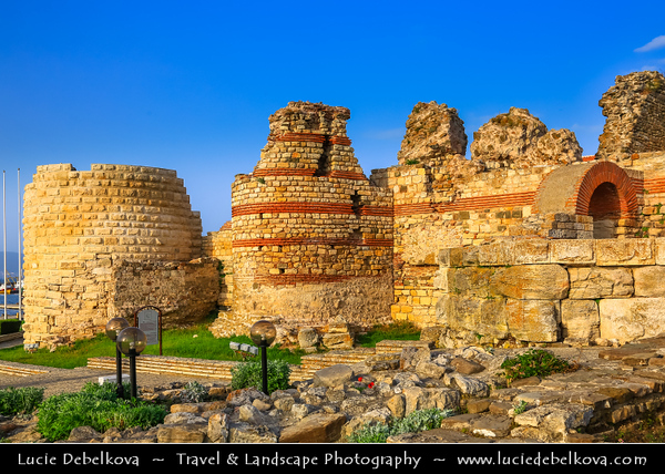 Eastern Europe - Bulgaria - България - Burgas Province - Nesebar - Nessebar - Nesebur - Несебър - Ancient town & one of the major seaside resorts on the Bulgarian Black Sea Coast - Pearl of the Black Sea - UNESCO World Heritage Site - Ancient Ruined Walls of Nessebar - Ruins of fortress walls in Old Town