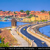 Eastern Europe - Bulgaria - България - Burgas Province - Nesebar - Nessebar - Nesebur - Несебър - Ancient town & one of the major seaside resorts on the Bulgarian Black Sea Coast - Pearl of the Black Sea - UNESCO World Heritage Site - Iconic Windmill entrance of the Ancient City of Nessebar
