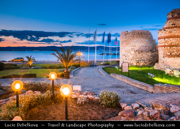 Eastern Europe - Bulgaria - България - Burgas Province - Nesebar - Nessebar - Nesebur - Несебър - Ancient town & one of the major seaside resorts on the Bulgarian Black Sea Coast - Pearl of the Black Sea - UNESCO World Heritage Site - Ancient Ruined Walls of Nessebar - Ruins of fortress walls in Old Town - Dusk - Twilight - Blue Hour - Night