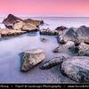 Eastern Europe - Bulgaria - България - Burgas - Bourgas - Бургас - Second-largest city & seaside resort on Bulgarian Black Sea Coast - Rocky shore at Sunset