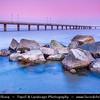 Eastern Europe - Bulgaria - България - Burgas - Bourgas - Бургас - Second-largest city & seaside resort on Bulgarian Black Sea Coast - Jetty on rocky shore at Sunset