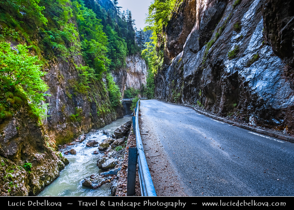 Eastern Europe - Bulgaria - България - Smolyan Province - Western Rhodope Mountains - Trigrad Gorge - Триградско ждрело - Natural phenomenon & popular tourist attraction - Canyon beneath towering marble cliffs cut over millions of years by the Trigrad River