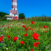 Eastern Europe - Bulgaria - България - East Bulgaria - Dobrich - Tuylenovo - Village on the north Bulgarian Black Sea Coast - Lighthouse and field of right red poppies in full bloom