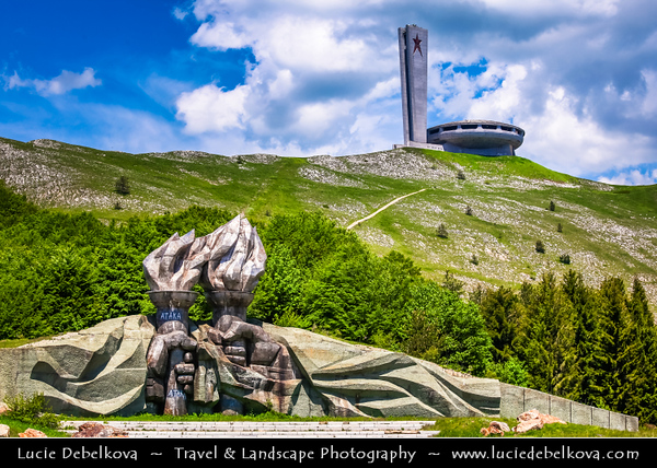 """Eastern Europe - Bulgaria - България - Mount Buzludzha at Shipka Pass - Museum Of Socialism -  Constructed at the summit, (1441m - 4727ft) - The large """"UFO"""" housed displays on several levels, a panoramic walkway giving views out across the mountains in all directions and the centrepiece main hall with its murals and large domed ceiling approximately 15m - 50ft high"""
