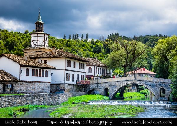 Eastern Europe - Bulgaria - България - Tryavna - Трявна - Historical town situated in north slopes of Balkan range at Tryavna river valley - Famous clock tower and Kivgireniyat arch bridge