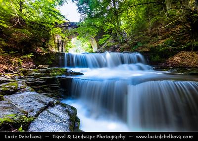 Eastern Europe - Bulgaria - България - Sitovo waterfall under historical arched bridge in Bulgarian Rhodope Mountains