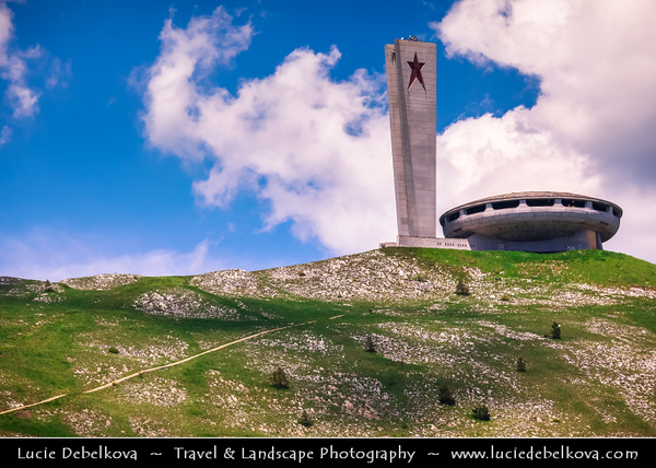 "Eastern Europe - Bulgaria - България - Mount Buzludzha at Shipka Pass - Museum Of Socialism -  Constructed at the summit, (1441m - 4727ft) - The large ""UFO"" housed displays on several levels, a panoramic walkway giving views out across the mountains in all directions and the centrepiece main hall with its murals and large domed ceiling approximately 15m - 50ft high"
