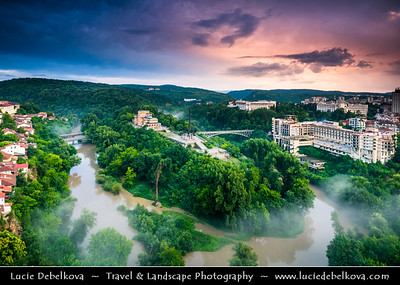 Eastern Europe - Bulgaria - България - Veliko Tarnovo - Велико Търново - Great Tarnovo - City of the Tsars - Former historical capital along meanders of Yantra River - View towards Asenevci Monument in middle of river bend