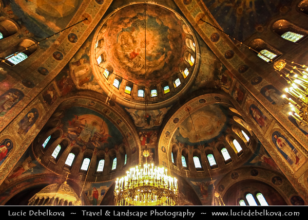 Eastern Europe - Bulgaria - България - Sofia - София - Capital & largest city of Bulgaria - St. Alexander Nevsky Cathedral - Храм-паметник Свети Александър Невски -  Sveti Aleksandar Nevski - Bulgarian Orthodox Cathedral built in Neo-Byzantine style, serves as the cathedral church of the Patriarch of Bulgaria - One of the largest Eastern Orthodox cathedrals in the world - One of Sofia's symbols & primary tourist attractions