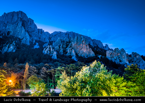 Eastern Europe - Bulgaria - България - Vrachanski Balkan Karst Nature Park - Beautiful area covered with karst limestones & Vratsa - Враца cityscape from above