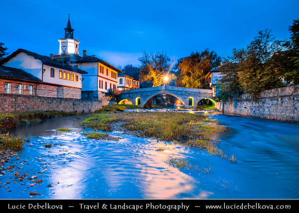 Eastern Europe - Bulgaria - България - Tryavna - Трявна - Historical town situated in north slopes of Balkan range at Tryavna river valley - Famous clock tower and Kivgireniyat arch bridge
