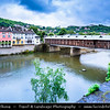 Eastern Europe - Bulgaria - България - Lovech - Ловеч - Loveč - Historical town along Osam river - Panorama with iconic Covered Bridge - Покрит мост - Pokrit most - Most recognisable symbol of town