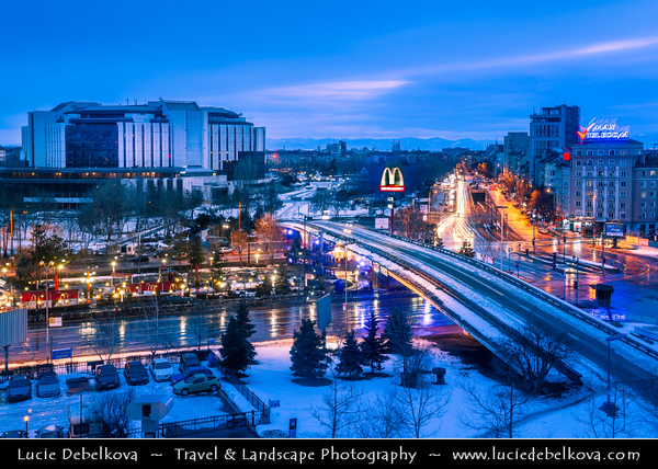 Eastern Europe - Bulgaria - България - Sofia - София - Capital & largest city of Bulgaria - National Palace of Culture - Typical feature of capitals of former communist countries - Dusk - Twilight - Blue Hour
