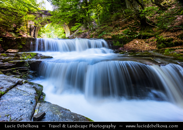 Eastern Europe - Bulgaria - България - Sitovo waterfall under historical arched bridge in Bulgarian Rhodope Mountains