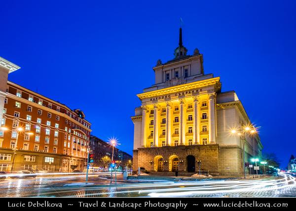 Eastern Europe - Bulgaria - България - Sofia - София - Capital & largest city of Bulgaria - National Assembly of Bulgaria - Classicistic monumentally presidential palace - Dusk - Twilight - Blue Hour