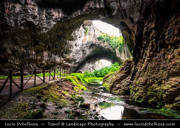 Eastern Europe - Bulgaria - България - Devetashka Cave - Деветашката пещера - Picturesque large karst cave measuring roughly two kilometres in length with huge entrance chamber some 60 metres in height - One of most beautiful of its kind in world