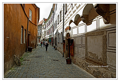 Pedestrain street in the medieval town of Cesky Krumlov, Czech Republic