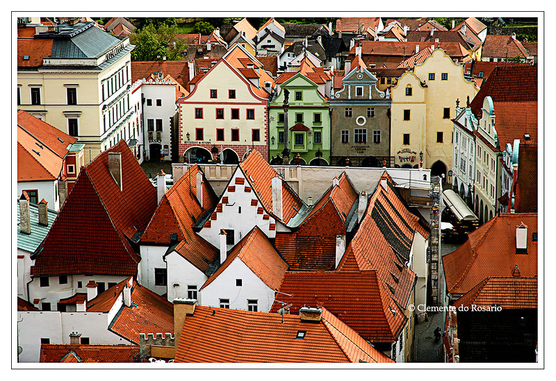 A view of the rooftops near the town square of Cesky Krumlov, Czech Republic
