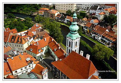 Aerial view of Cesky Krumlov,Czech Republic