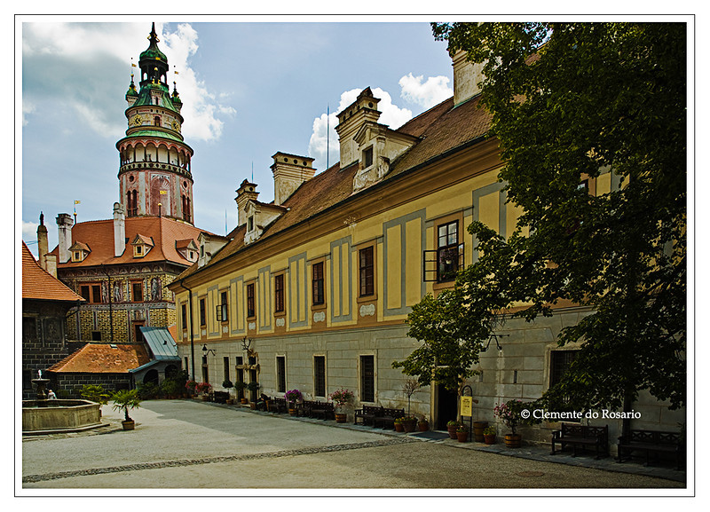 Courtyard in the Cesky Krumlov Castle, Czech Republic