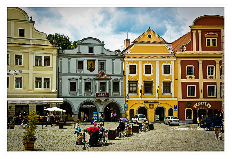 Bright colors of medieval buildings in the town square of Cesky Krumlov,  Czech Republic