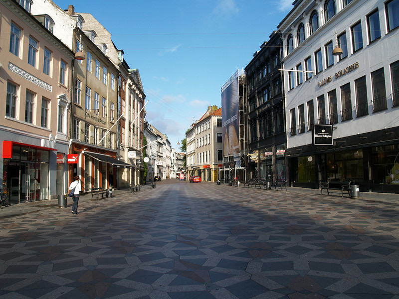 View of the Stroget, the largest pedestrian shopping area in Europe and home to some of the city's most famous and expensive stores.