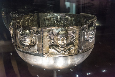 The Gundestrup Cauldron, a silver vessel found preseved in a  Danish peat bog