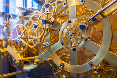 Inner workings of the World Clock. The fastest gear makes a revolution every ten seconds, the slowest makes a revolution every 25,753 years.