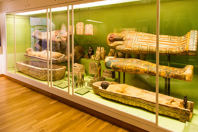 Well-preserved Egyptian mummies and sarcophagi with rich colors
