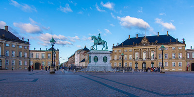 Amalienborg Palace, home of the Danish royal family, with a statue of King Frederick V.