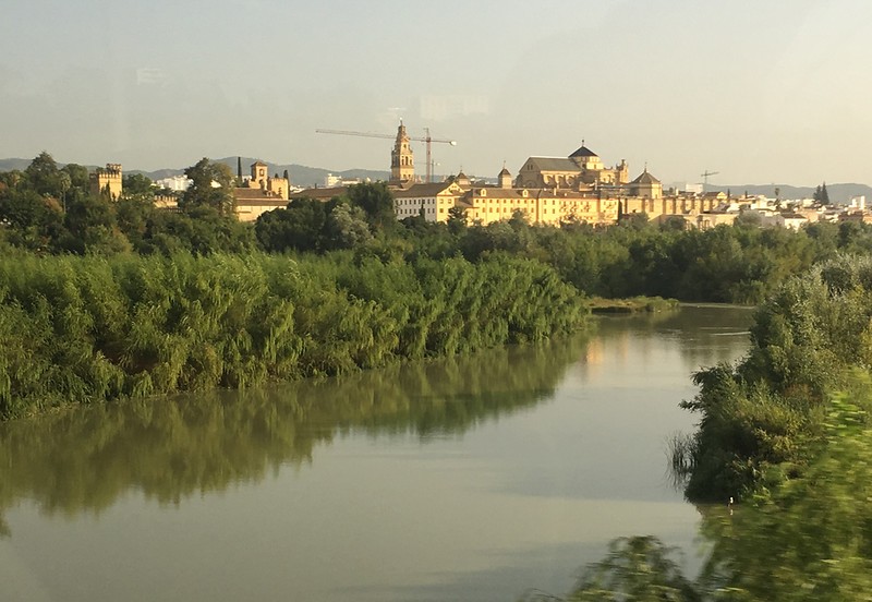View from the tour bus, approaching the Mezquitq, in Cordoba