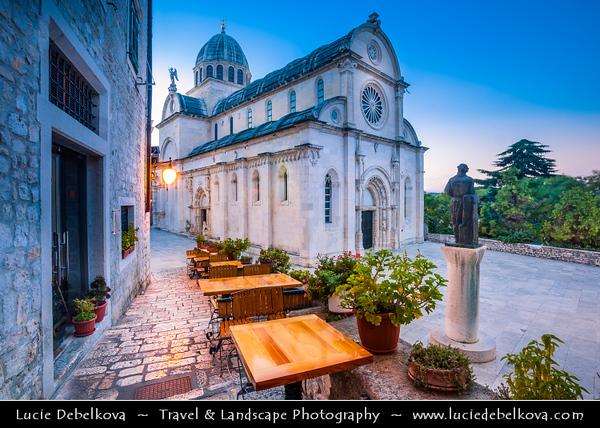 Europe - Croatia - Hrvatska - Central Dalmatia - Adriatic Coast - Šibenik - Sibenik - UNESCO World Heritage Site - Historical town & location of spectacular Gothic-Renaissance monument - Cathedral of St James - Katedrala sv. Jakova