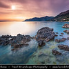 Europe - Croatia - Hrvatska - Central Dalmatia - Adriatic Coast - Makarska Rivijera - Brela - Seaside town with stunning turquoise blue crystal clear water beaches surrounded by dramatic rocky heights of impressive Biokovo mountain range - Sunset