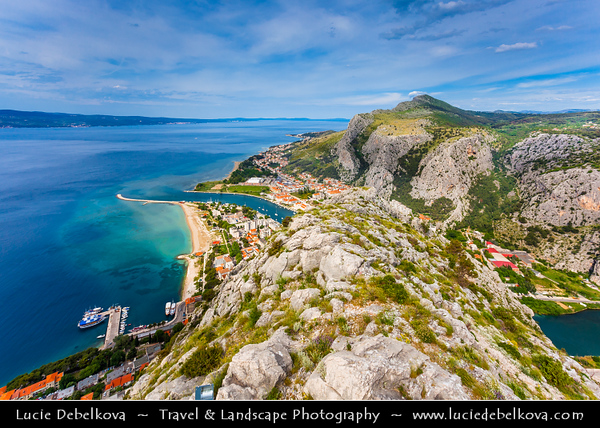 Europe - Croatia - Hrvatska - Central Dalmatia - Omiš - Harbour town situated in mouth of Cetina river surrounded with massive gorges - One of the most beautiful parts of Croatia's Adriatic Coast - Starigrad - Fortica fortress built in 15th century above the town primarily for defending from Turks