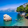 Europe - Croatia - Hrvatska - Central Dalmatia - Adriatic Coast - Makarska Rivijera - Brela - Seaside town with stunning turquoise blue crystal clear water beaches surrounded by dramatic rocky heights of impressive Biokovo mountain range