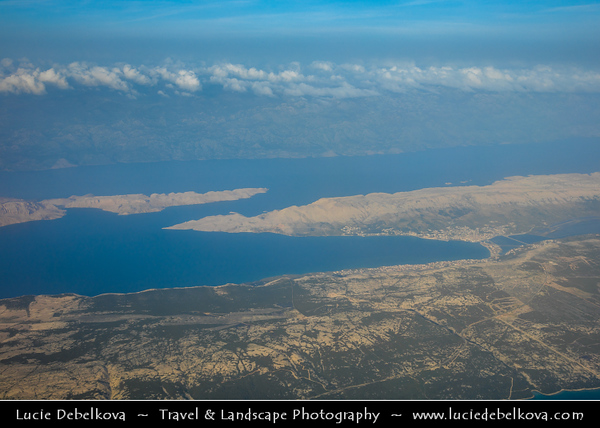 Europe - Croatia - Hrvatska - Dalmatia - Adriatic Coast - Pag Island - Aerial View of Croatian fifth-largest island & one with longest coastline